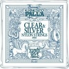 Ernie Ball Ernesto Palla Nylon Classical Clear & Silver Strings for Acoustic Classical Guitar, 3 Pack