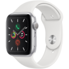 Apple Watch Series 5 GPS, 44mm Silver Aluminium Case with White