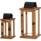 4Living Salome wooden lantern, set of 2, 28 and 38 cm