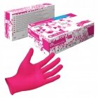 Essenti Care Disposable Rubber Niril Gloves Powder Free (size 6-7) 100 pieces in Box Rose Pink