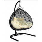 Hanging double rocking chair, black