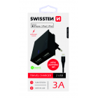 Swissten MFI Premium Apple Certified Travel Charger USB 3А / 15W With Lightning (MD818) Cable 120 cm Juodas