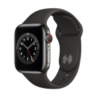 Apple Watch Series 6 GPS + Cellular, 40mm Graphite Stainless Steel Case with Black Sport Band - Regular LT