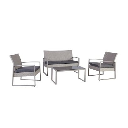 Garden furniture set VICTORIA with cushions, table, bench and 2 arm chairs, steel frame with plastic wicker, color: grey