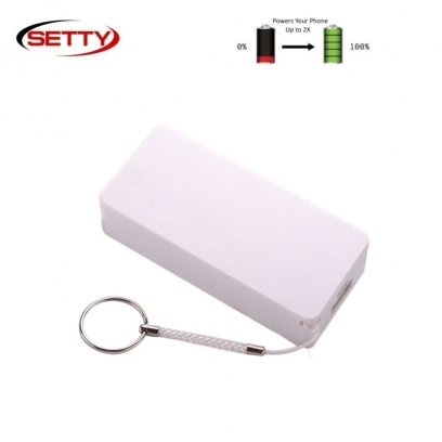Setty Midi Cube Power Bank 4000mAh External Charger USB 5V 1A Port + Mico USB + Hand Strap White