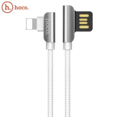 Hoco U42 L Shape Lightning to USB Data & Fast Charger Cable 1 2m 90 degree  Steel Connector White