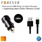 Forever 1A USB Plug Car Charger + Cable (Apple Lightning 8pin) iPhone 5 5S 5C (EU Blister)