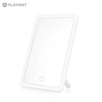 Platinet PMLY6W Portable MakeUp Mirror with 3W LED Touch adjustable lightning and Buit-In Battery White