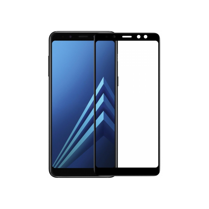TFT Full Glue 5D Full Glue 5D Tempered Glass Full Coveraged with Frame  Samsung A730 Galaxy A8 Plus (2018) Black