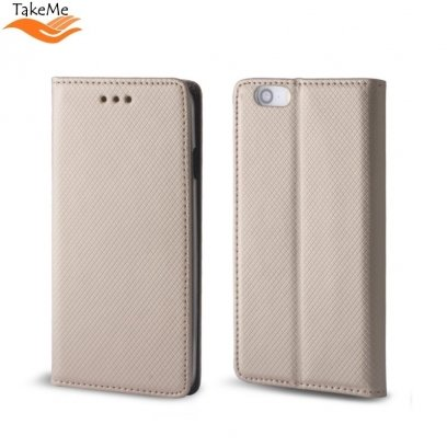 TakeMe Smart Magnetic Fix Book Case without clip Huawei P30 Pro Gold