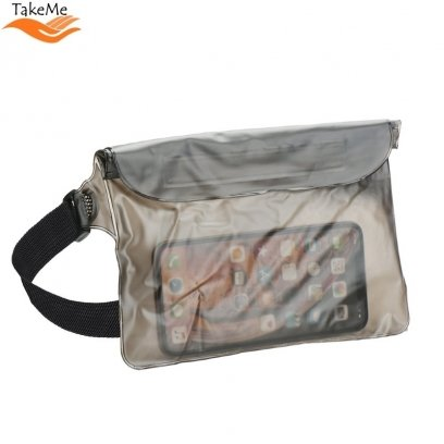 TakeMe Universal Waterproof Waist bag with 3x zipper closing (20x18.5) for mobile devices Transparent Black