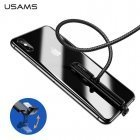 Usams US-SJ278 U9 Braided Bending Shape Gaming USB to Lightning Charger Cable 1.5m with Suction Fix Black