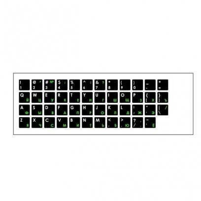 HQ Keyboard Stickers ENG white / RUS green Qwerty Black Pattern