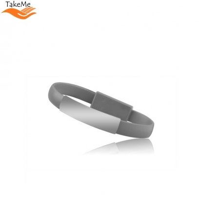 TakeMe 2in1 Elegant Bracelet & Fast Transmission 2 1A Data / Charging cable  USB to Type-C (21cm) Grey